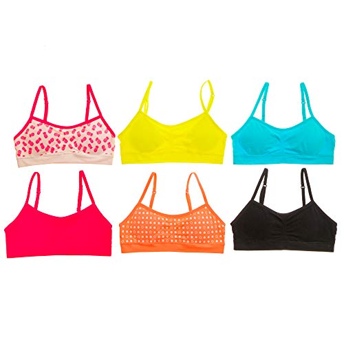 Alyce Intimates Seamless Girls Training Bra, Pack of 6, Assorted, Medium