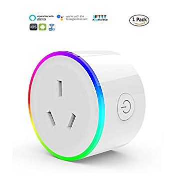 HomePro WIFI Smart Plug with RGB Light, Wireless Power Outlet