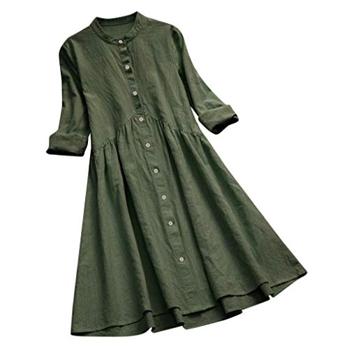 2019 New Women Vintage Solid Stand Collar Pleated Button Long Sleeve Casual Mini Dress Green