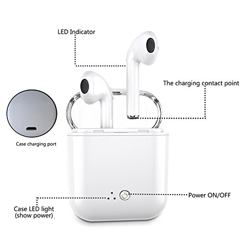 Wireless Earphone,Bluetooth Earbuds/Stereo-Ear Sweatproof Earphones with Noise Cancelling and Charging Case Fit for iPhone X/8/7/7 Plus/6S/6S Plus and Samsung Galaxy S7/S8/S8 Plus by Zsjijia (Image #4)