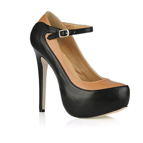 Mary Womens Leather Womens Prime Stiletto Jane Mary Black Pumps Platform TO4x5p