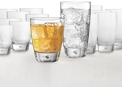Dailyware Luna Drinking Glasses Set 16-pc Beverage Glassware Party Drinkware NEW
