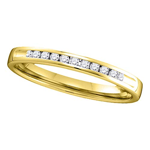 Jewels By Lux 14kt Yellow Gold Womens Round Channel-set Diamond Single Row Wedding Band 1/10 Cttw In Channel Setting (I1-I2 clarity; H-I color) ()