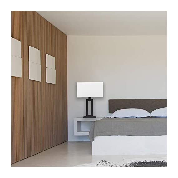 "Globe Electric 67045 D'Alessio Table Lamp, 20"", Matte Black - MODERN DESIGN: a trendy cutout body and rectangular linen shade offers a modern design that will stand the test of time WHITE LINEN SHADE: offering a bright but diffused light, a white linen shade brings a classic element to any space while allowing you to give your lamp and room a warmer or colder look depending on the bulb color temperature you choose PERFECT HEIGHT: a 20-inch height is perfect for a side table, bedside table or entryway table - lamps, bedroom-decor, bedroom - 41QHRzw hYL. SS570  -"