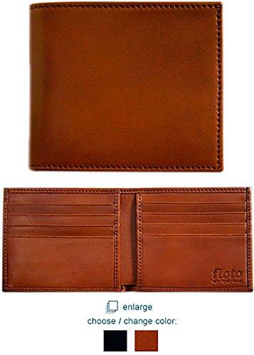 Floto Mens [Personalized Initials Embossing] Leather Double Billfold Wallet in Tan Italian lambskin leather