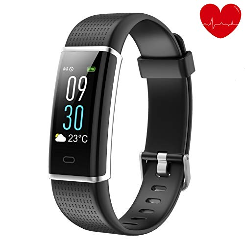 Lotyes Fitness Tracker,Color Screen Heart Rate Activity Tracker with Sleep Monitor,Steps Counter,IP68 Waterproof Smart Band for Kids,Women and Men (Black)