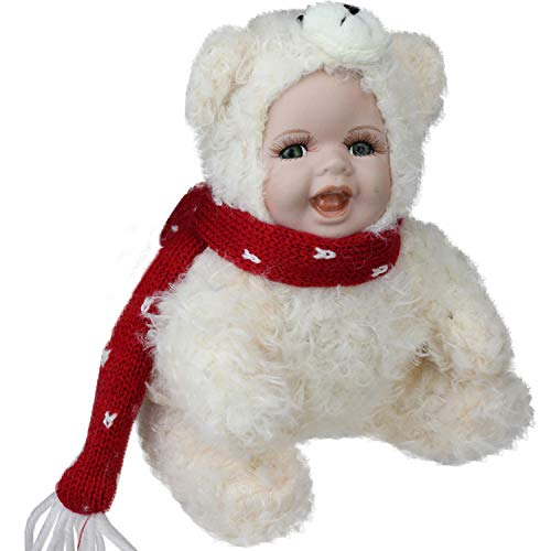 "Northlight 6.5"" Porcelain Baby in Polar Bear Costume Collectible Doll Decorative Christmas Figures, White"