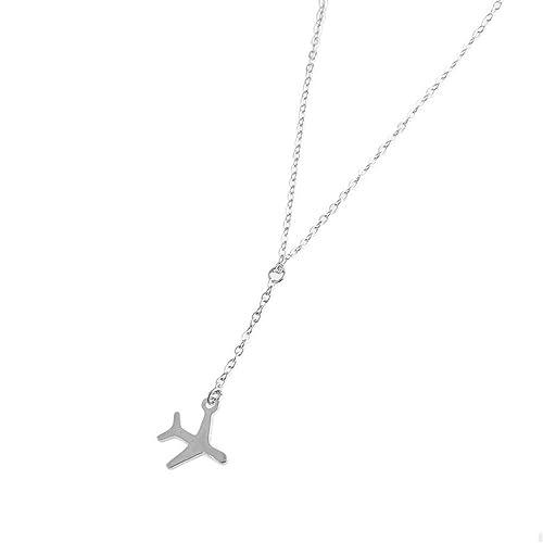 KOMO Mujeres de Moda Colgante Collar de Plata esterlina 925 Atmósfera con un Alto Estándar y Personalizado versátil Colgantes Plata Aviones de Largo ...