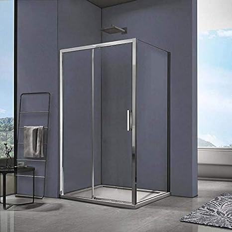 SPAZIO Space Box Ducha Reversible Fija + Deslizante 70 x 110 cm con Plato de Ducha: Amazon.es: Hogar