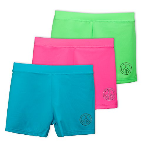 Lucky & Me Ella Girls Dance Shorts, Gymnastics & Dancewear, Spring Bouquet, 3-Pack, 6
