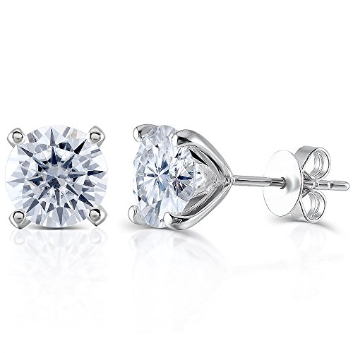 Transgems14K White Gold H Color Moissanite Simulated Diamond 4 Prongs Stud Earrings Push Back for Women (2.4) (Moissanite Diamonds)