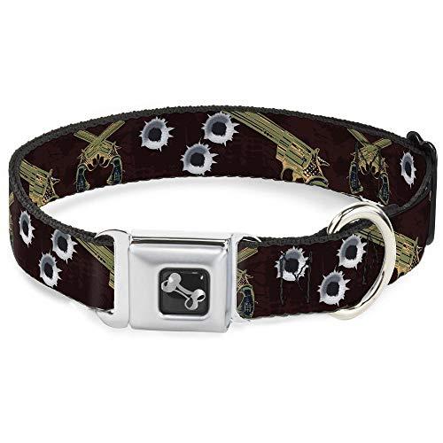 (Buckle-Down Seatbelt Buckle Dog Collar - Revolvers Purple/Green - 1