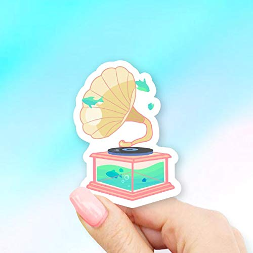 Fish Gramophone Sticker for Laptops Windows and Water Bottles