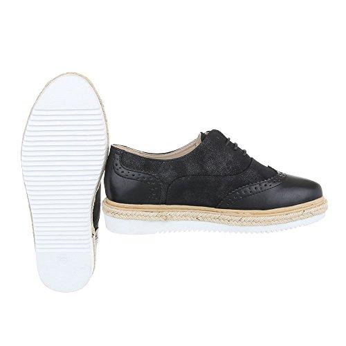 Ital-Design - Zapatos Planos con Cordones Mujer Schwarz 62022