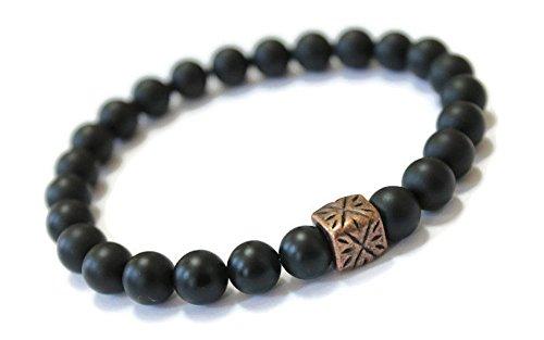 Unisex Black Onyx Gemstone Beaded Wellness Bracelet, Antique Copper, Positive Energy, holistic well being jewelry, crystal energy, minimalist, stylish unisex stone (Black Onyx Cube Beads)