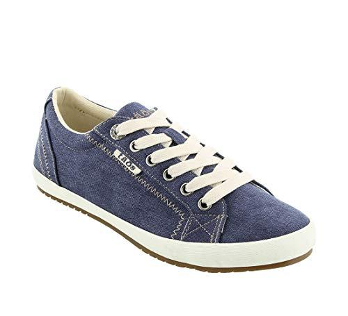 Taos Footwear Women's Star Blue Wash Canvas Sneaker 7.5 M - Denim Sneakers