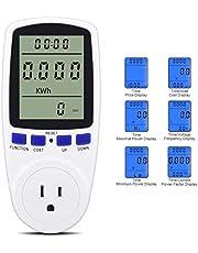 Plug Power Meter & Electricity Usage Monitor, Watt Voltage Amps Meter Electricity Usage Monito, Energy Watt Voltage Amps Meter with Energy Digital LCD Display
