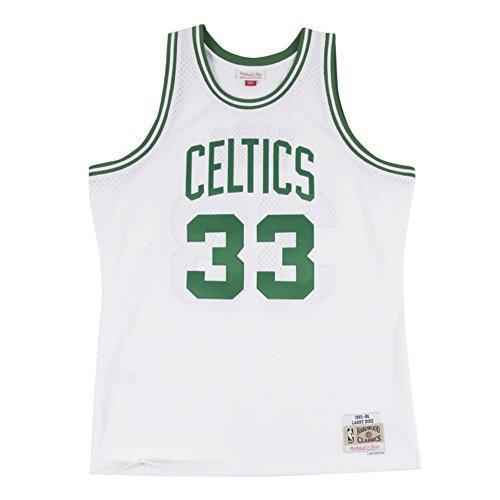 Mitchell & Ness Larry Bird Boston Celtics NBA White 1985-86 Hardwood Classics Swingman Throwback Home Jersey For Men (S) ()