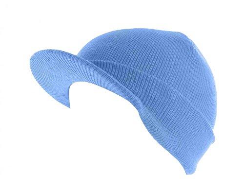 Sky Blue_(US Seller)Skull Unisex Visor Beanies Hat Ski Cap - Micheal Korea