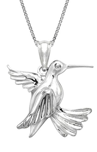 Hummingbird Sterling Pendant (Honolulu Jewelry Company Sterling Silver Hummingbird Necklace Pendant with 18