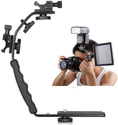 Camera L Bracket Mount Video Grip L-Bracket Dual Flash Cold Shoe Mount 1//4 inch Tripod Screw Heavy Duty Padded Hand Grip DSLR