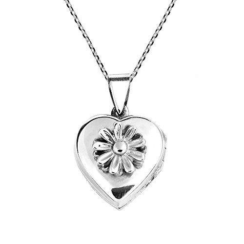 Daisy Heart Pendant - AeraVida Daisy in Full Bloom Heart Pendant Locket .925 Sterling Silver Cable Necklace