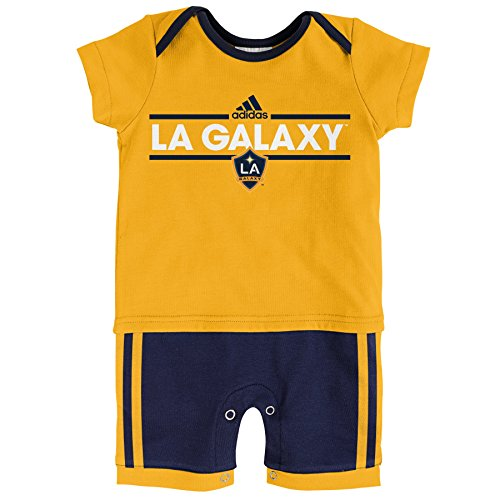Outerstuff MLS Los Angeles Galaxy Boys Little Trainer Short Sleeve Romper, Gold, 12 Months ()