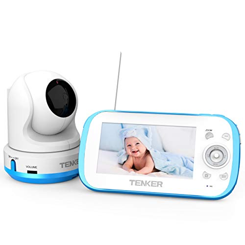 TENKER Video Baby Monitor with Camera and Audio, Baby Monitor with Night Vision, 4.3-Inch LCD Screen, 270 Pan-Tilt-Zoom, VOX, Lullaby, Two Way Talk Monitor