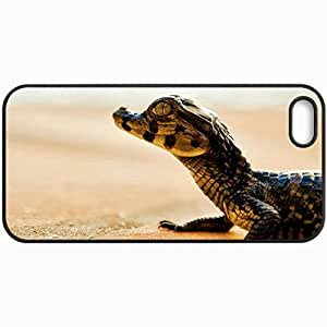 Customized Cellphone Case Back Cover For iPhone 5 5S, Protective Hardshell Case Personalized Cayman Crocodile Reptile Black