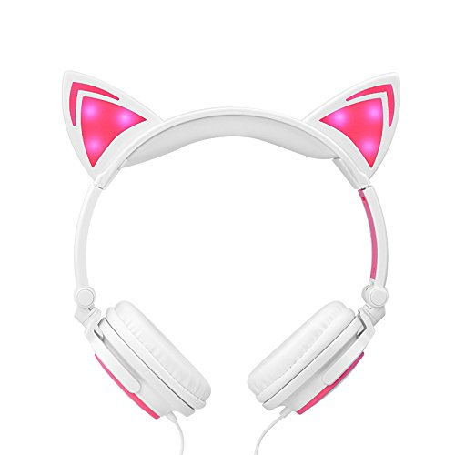 Cat Ear Headphones,Teetox Kids Headphones Blinking Fashion Glowing Cosplay Fancy Foldable Over-Ear...