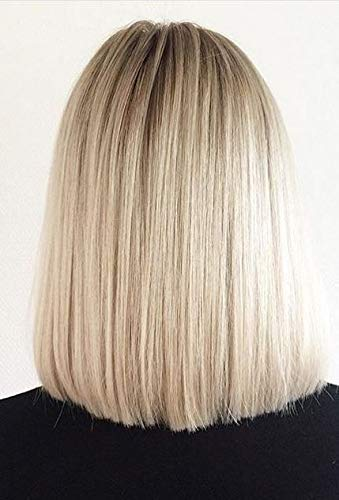 Sunny 8quot Glueless Short Bob Haircut #10/613 Ash Brown to Blonde Two Tone Ombre Color Lace Front Wigs Silk Straight Virgin Human Hair Blonde Wig for Women