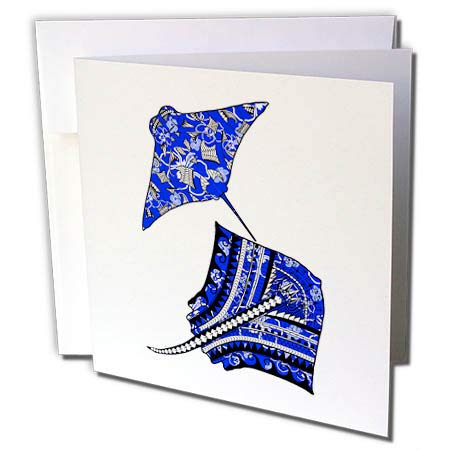 3dRose Macdonald Creative Studios – Tribal Animals - Polynesian Tribal Artwork of Two Stingrays or Manta Rays in Blue. - 12 Greeting Cards with envelopes (gc_291817_2)