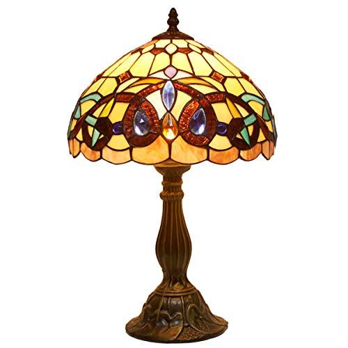 Tiffany Style Table Lamps Wide 12 Height 18 inch Serenity Victorian Stained Glass Lamp Shade 1 Bulb Desk Antique Light Zinc Base for Living Room Bedroom Bedside S021 WERFACTORY ()
