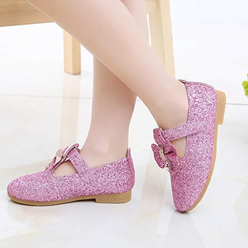 Mysky Kids Baby Girls Sweet Crystal Pendant Bowknot Sequins Party Princess Shoes Pink by Mysky (Image #3)