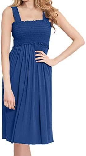 Jeash Women's Maternity Elegant Nursing Wrap Sleeveless High Waist Dress Solid Color Double Layer Sundress
