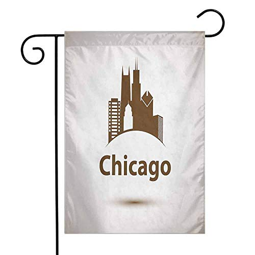 Chicago Skyline Garden Flag USA City Old Fashioned Urban in Earth Toned Retro Poster Design Decorative Flags for Garden Yard Lawn W12 x L18 Eggshell Chocolate
