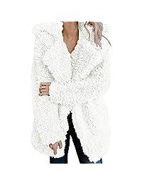 kingf Teddy Coat Womens Faux Fur Wool Jacket Lapel Collar Winter Outerwear