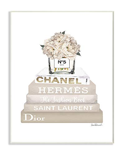 The Stupell Home Décor Collection High Fashion Bookstack with Tan Flowers Wall Plaque Art, 13 x 19, Multi-Color