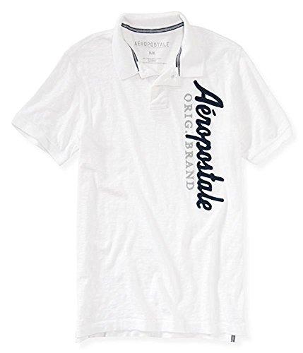 Aeropostale Men's Graphic Polo Shirt White 7969 (Aeropostale Mens Polo Shirt)