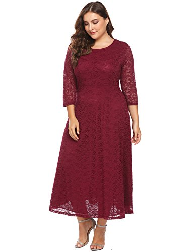 8f7e958a0ecd ... Women s Plus Size 3 4 Sleeves Floral Lace Bridal Formal Skater Dress  Cocktail Party.   