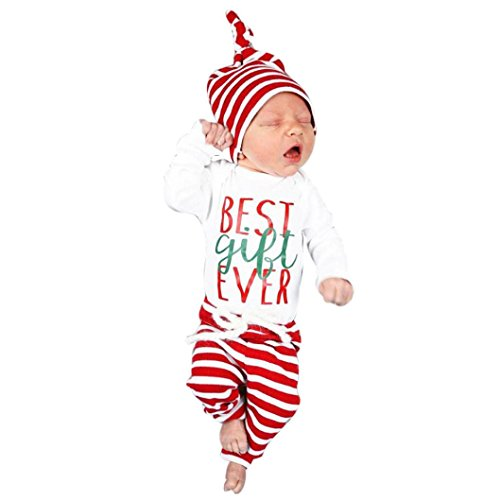 Best Baby Costumes Ever (Kehen 3PCS Infant Unisex Baby Deer Letter Pattern Top + Stripes Pants + Hat Xmas Costume (3/6M, Best Gift Ever))