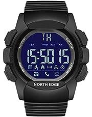 NORTH EDGE Smart Watch stegräknare, kalorier, avstånd, larm för -IOS /-Android stoppur, samtal/meddelandepåminnelse