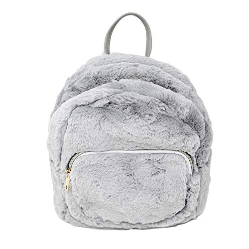 Me Plus Women's Soft Faux Fur Fuzzy Mini Backpack, Shoulder bag Purse, Schoolbag -