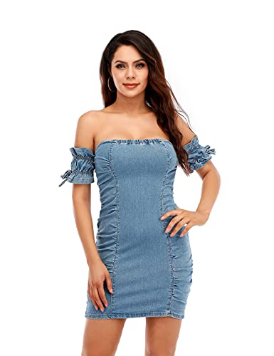 DYMADE Women's Denim Dress Sexy Off Shoulder Bodycon Jeans Mini Dress