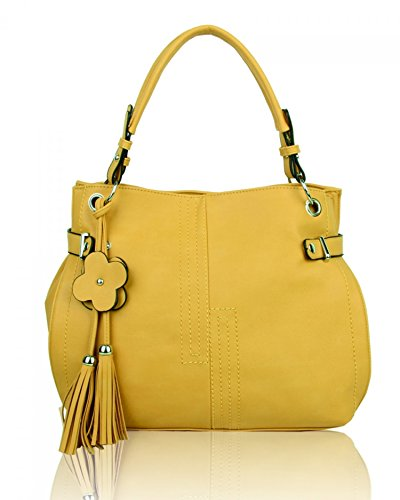 LeahWard? Women's Shoulder Bags Faux Leather Tote Handbags Soft Bag For Her CW16001 Primrose Yellow Charm Bag