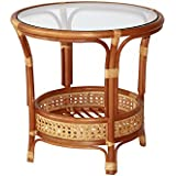 SunBear Furniture Pelangi Coffee Round Table Natural Rattan Wicker with Glass Top Handmade, Cognac
