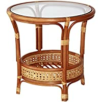 Pelangi Coffee Round Table Natural Rattan Wicker with Glass Top Handmade, Cognac