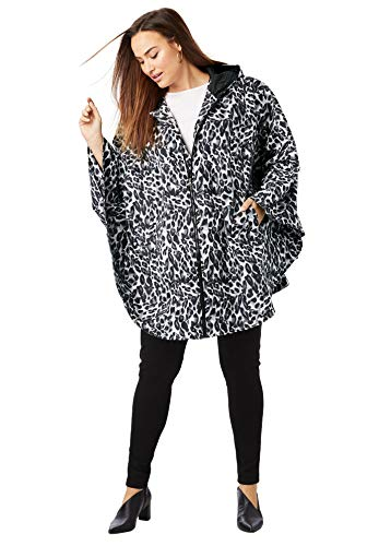 Jessica London Women's Plus Size Rain Poncho - Animal Print, 12