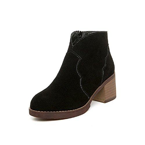 Inverno scarpe da donna stivali Martin British style Genuine Leather alto - stivali con tacco lato cerniera più velluto aumentato nudo alto tacco stivali , 36