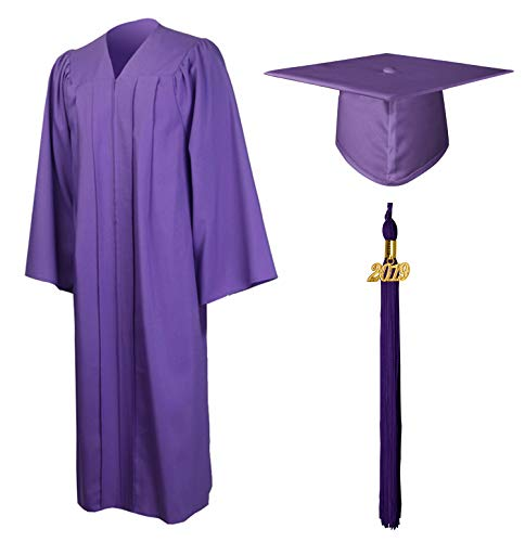 GraduationMall Matte Graduation Gown Cap Tassel Set 2019 for High School and Bachelor Purple 51(5'6